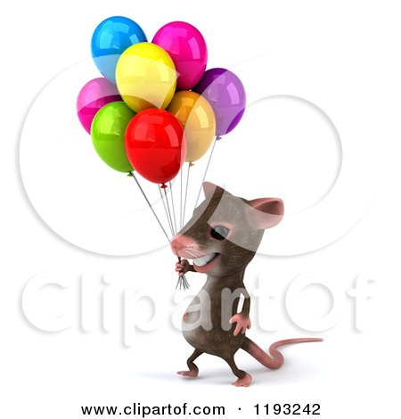 Clipart of a 3d Happy Mouse with Colorful Party Balloons 2 - Royalty Free CGI Illustration by Julos