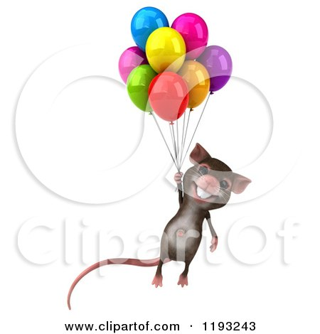 Clipart of a 3d Happy Mouse Floating with Colorful Party Balloons - Royalty Free CGI Illustration by Julos
