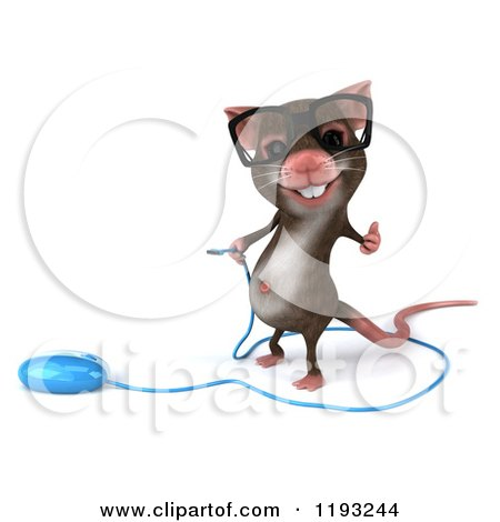 Clipart of a 3d Mouse Wearing Glasses, Holding a Thumb up and Standing by a Computer Mouse - Royalty Free CGI Illustration by Julos