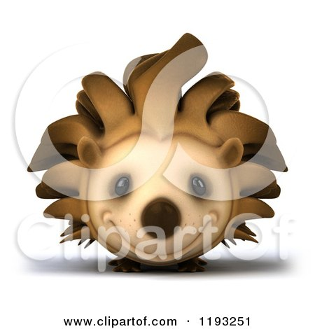 Clipart of a 3d Happy Hedgehog Smiling - Royalty Free CGI Illustration by Julos