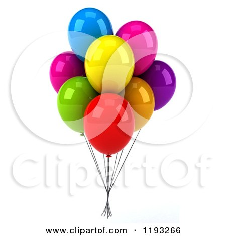 Clipart of a Bunch of 3d Colorful Party Balloons - Royalty Free CGI Illustration by Julos