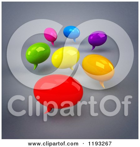 Clipart of 3d Colorful Chat Balloons over Gray 2 - Royalty Free CGI Illustration by Julos