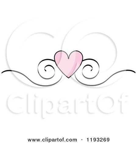 Clipart Of A Pink Heart And Black Scroll Design Edge Border - Royalty Free Vector Illustration by Pams Clipart