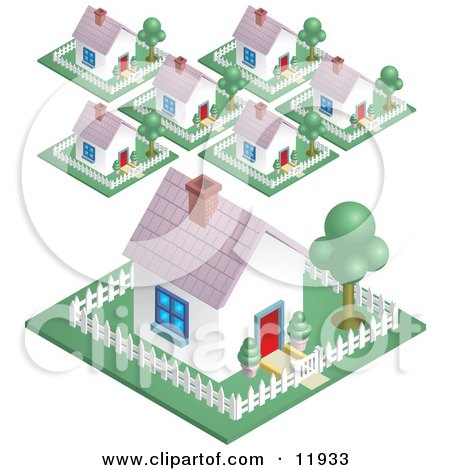 Neighborhood in a Suburban Residential Subdivision Housing Area Clipart Illustration by AtStockIllustration