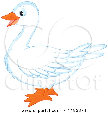 Cartoon of a Cute White Duck or Goose in Profile - Royalty Free Vector Clipart by Alex Bannykh