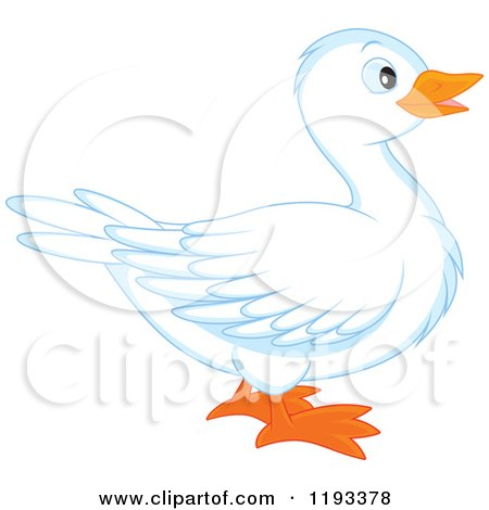 Cartoon of a Cute White Duck in Profile - Royalty Free Vector Clipart by Alex Bannykh