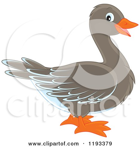 Cartoon of a Cute Goose or Duck in Profile - Royalty Free Vector Clipart by Alex Bannykh