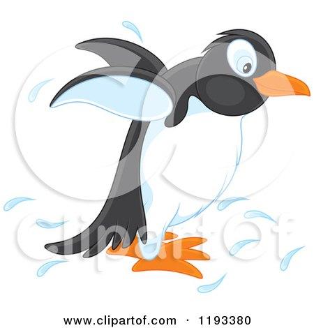 Cartoon of a Cute Penguin Splashing - Royalty Free Vector Clipart by Alex Bannykh