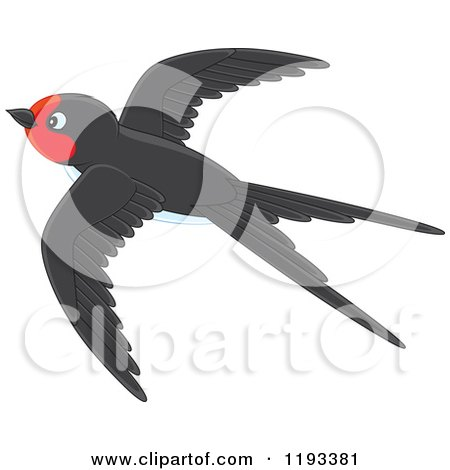 Cartoon of a Cute Black and Red Martin Swallow Bird Flying - Royalty Free Vector Clipart by Alex Bannykh