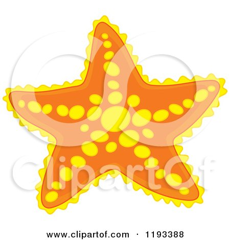 Cartoon of a Yellow and Orange Starfish - Royalty Free Vector Clipart by Alex Bannykh