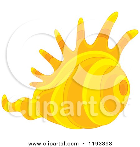 Cartoon of a Yellow and Orange Conch Sea Shell - Royalty Free Vector Clipart by Alex Bannykh