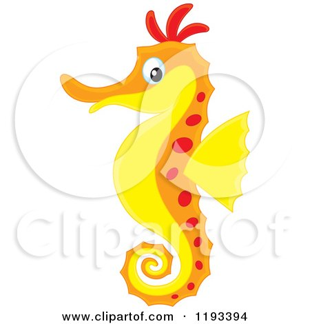 Cartoon of a Red Orange and Yellow Seahorse - Royalty Free Vector Clipart by Alex Bannykh