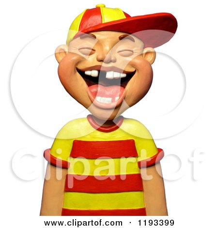 Clipart of a 3d Boy Laughing and Showing Some Missing Teeth - Royalty Free CGI Illustration by Amy Vangsgard