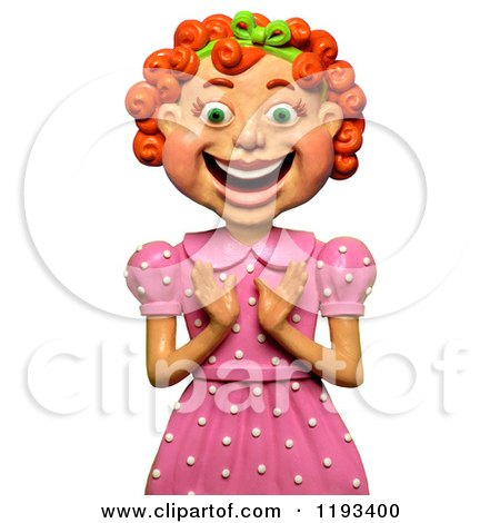 Clipart of a 3d Happy Red Haired Girl Clapping - Royalty Free CGI Illustration by Amy Vangsgard