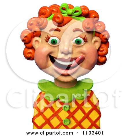 Clipart of a 3d Happy Red Haired Girl Licking Her Lips - Royalty Free CGI Illustration by Amy Vangsgard