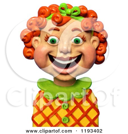 Clipart of a 3d Happy Red Haired Girl Smiling - Royalty Free CGI Illustration by Amy Vangsgard