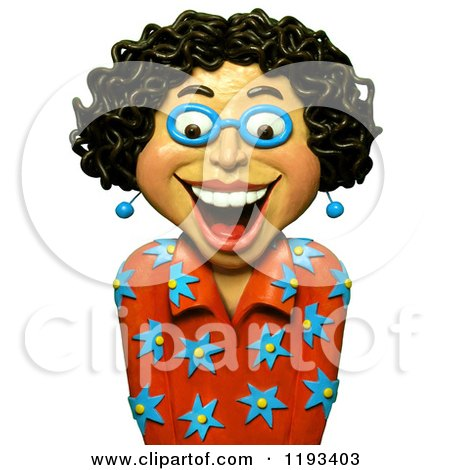 Clipart of a 3d Happy Woman with Curly Black Hair - Royalty Free CGI Illustration by Amy Vangsgard