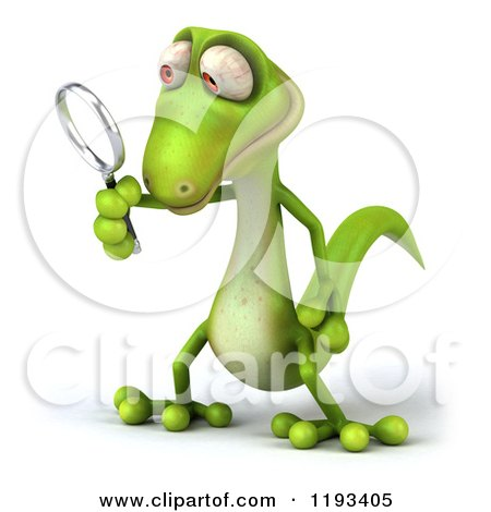 Clipart of a 3d Gecko Using a Magnifying Glass 2 - Royalty Free CGI Illustration by Julos