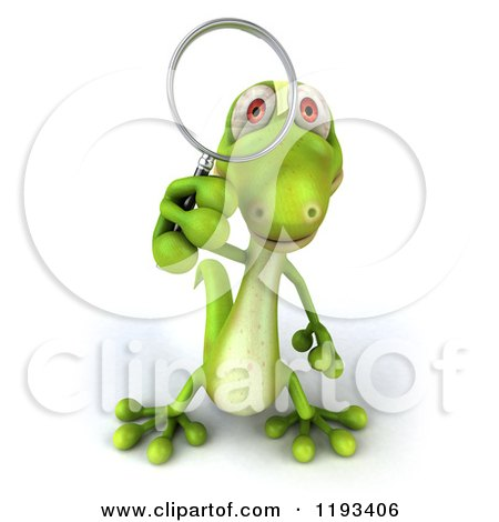 Clipart of a 3d Gecko Using a Magnifying Glass - Royalty Free CGI Illustration by Julos