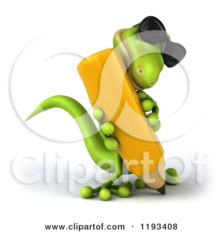 Clipart of a 3d Gecko Wearing Sunglasses and Writing with a Pencil 2 - Royalty Free CGI Illustration by Julos