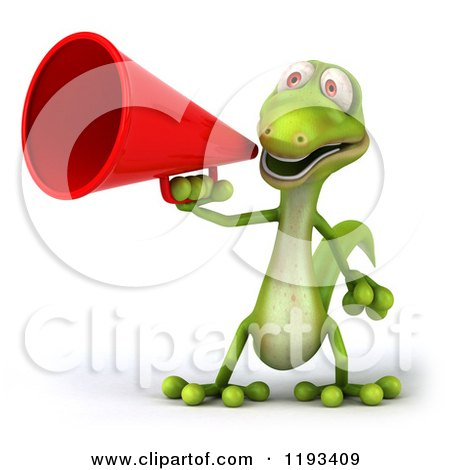 Clipart of a 3d Gecko Using a Megaphone - Royalty Free CGI Illustration by Julos