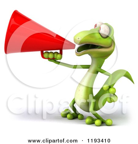 Clipart of a 3d Gecko Using a Megaphone 2 - Royalty Free CGI Illustration by Julos