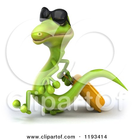 Clipart of a 3d Traveling Gecko Wearing Sunglasses and Walking with Rolling Luggage 3 - Royalty Free CGI Illustration by Julos