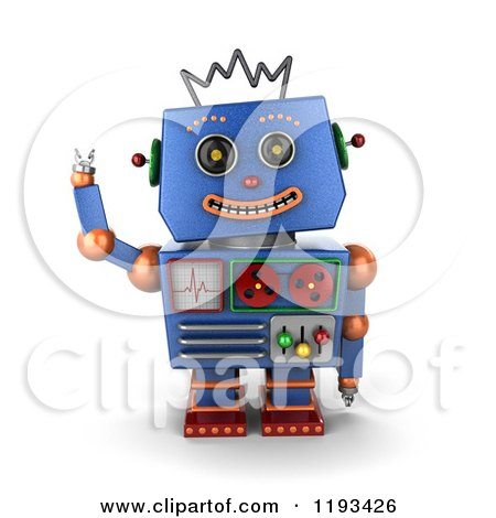 Clipart of a 3d Happy Blue Robot Waving - Royalty Free CGI Illustration by stockillustrations