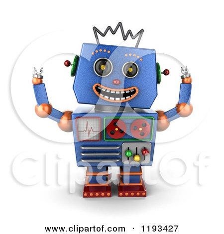 Clipart of a 3d Happy Blue Robot with Both Arms up - Royalty Free CGI Illustration by stockillustrations