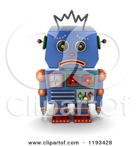 Clipart of a 3d Sad Blue Robot Pouting - Royalty Free CGI Illustration by stockillustrations