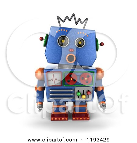 Clipart of a 3d Surprised Blue Robot with an Open Mouth - Royalty Free CGI Illustration by stockillustrations