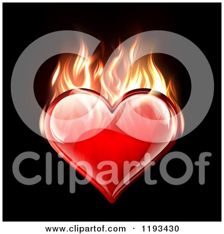 Clipart of a Reflective Red Heart Burning with Flames on Black - Royalty Free Vector Illustration by TA Images