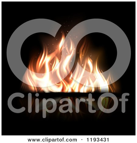 Clipart of a Fire with Flickering Flames on Reflective Black - Royalty Free Vector Illustration by TA Images