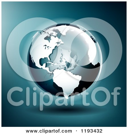 Clipart of a Globe Featuring the Americas Ant Atlantic over Blue - Royalty Free Vector Illustration by TA Images