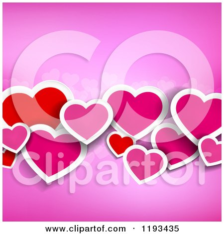 Clipart of a Background of Red and Pink Paper Hearts on Pink - Royalty Free Vector Illustration by TA Images