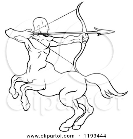 Clipart of a Black and White Line Drawing of the Sagittarius Centaur Archer Zodiac Astrology Sign - Royalty Free Vector Illustration by AtStockIllustration