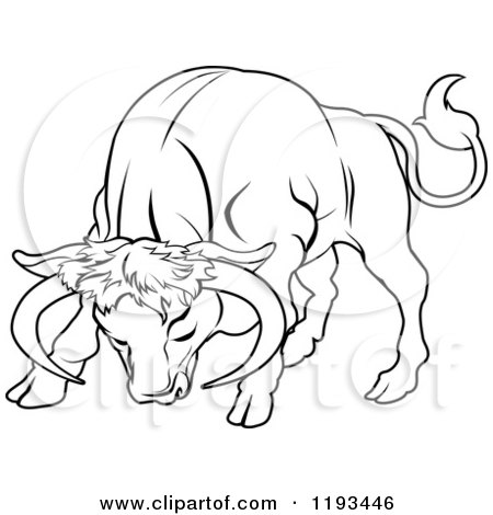 Clipart of a Black and White Line Drawing of the Taurus ... Taurus Bull Drawing