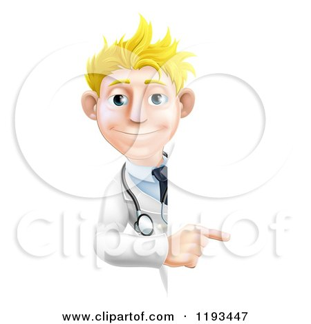Cartoon of a Friendly Blond Male Doctor Pointing to a Sign - Royalty Free Vector Clipart by AtStockIllustration