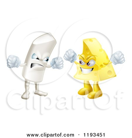 Cartoon of Debating Angry Chalk and Cheese Mascots - Royalty Free Vector Clipart by AtStockIllustration
