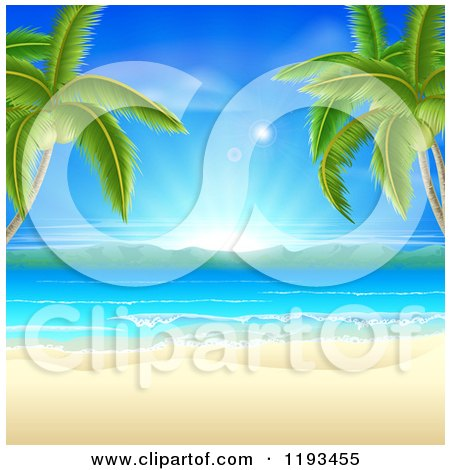 Clipart of a Tropical Beach Framed by Palm Trees, with White Sand and Sunshine - Royalty Free Vector Illustration by AtStockIllustration