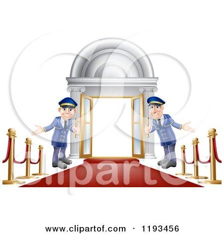 Cartoon of Friendly Door Men Holding Open VIP Doors on a Red Carpet - Royalty Free Vector Clipart by AtStockIllustration