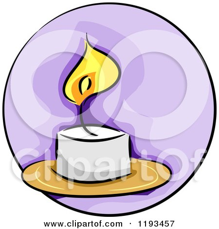 Cartoon of a Purple Circle and Candle Wellness Icon - Royalty Free Vector Clipart by BNP Design Studio