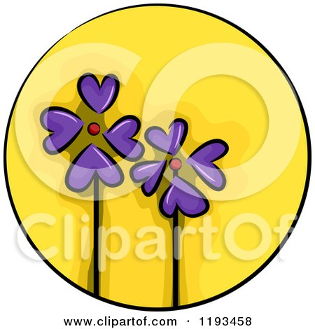 Cartoon of a Yellow Circle and Purple Flower Wellness Icon - Royalty Free Vector Clipart by BNP Design Studio