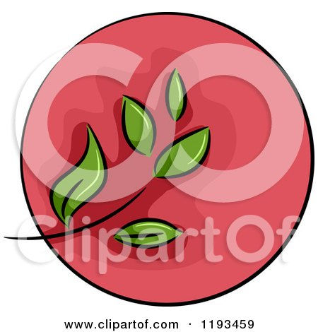 Cartoon of a Red Circle and Green Leaf Wellness Icon - Royalty Free Vector Clipart by BNP Design Studio