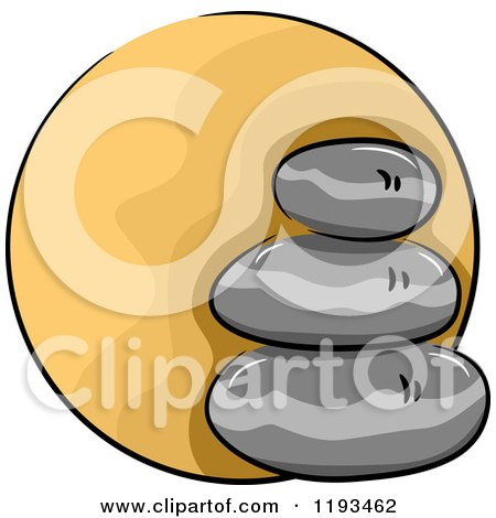 Cartoon of an Orange Circle and Spa Stones Wellness Icon - Royalty Free Vector Clipart by BNP Design Studio