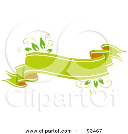 Cartoon of a Blank Green Leafy Eco Ribbon Banner - Royalty Free Vector Clipart by BNP Design Studio