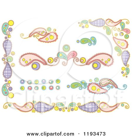 Cartoon of Whimsy Paisley and Circle Borders - Royalty Free Vector Clipart by BNP Design Studio