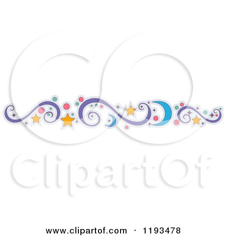 Cartoon of a Crescent Moon Star Circle and Swirl Design Element - Royalty Free Vector Clipart by BNP Design Studio