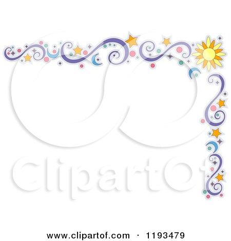 Cartoon of a Star Sun Moon Circle and Swirl Corner Border - Royalty Free Vector Clipart by BNP Design Studio