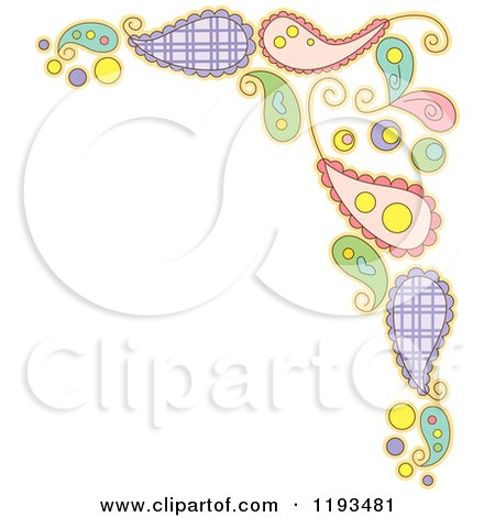 Cartoon of a Whimsy Paisly Corner Border - Royalty Free Vector Clipart by BNP Design Studio